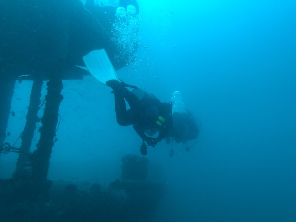 scuba divers on a shipwreck in panama city waters